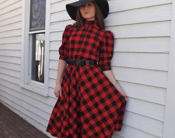 Red Buffalo Plaid Dress Flannel Hipster Punk Cotton Vintage 80s XS S