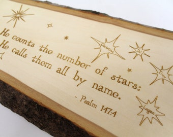 Personalized Rustic Wall Decor - Psalm 147:4 He counts the number of stars, He calls them by name. Sustainable Harvest - Timber Green Woods