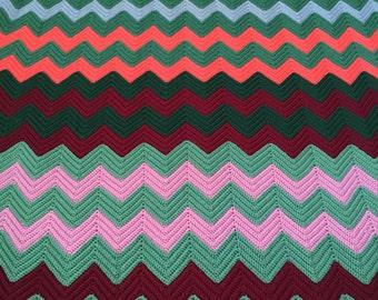 Vintage Chevron Crochet Knit MCM Afghan Wintet Cozy Living Room Chic Colorful Missoni Esque