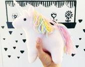 Pale Pink Plush Unicorn - MADE TO ORDER