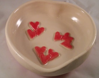 Ceramic Bowl of Hearts - Candy Dish- Wedding - Engagement - Anniversary -