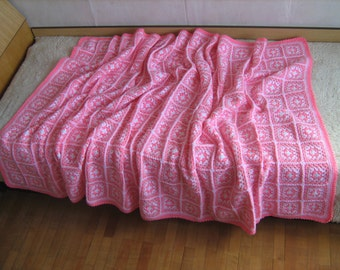 Granny square afghan blanket, handmade, colorful, patchwork, crochet, wrap, cover, pink, light, girl, warm and cozy