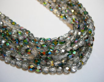 100 4mm Vitrial Czech Fire Polish faceted glass beads