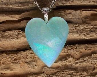 Dichroic Glass Pendant, Cool, Aqua Heart DGP-510
