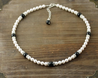 Black and White Pearl Necklace, Bridal Necklace, Swarovski Pearl Necklace, Little Black Dress Necklace