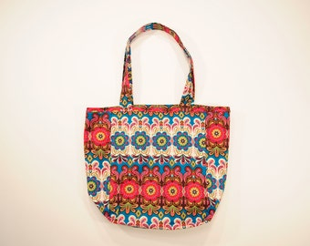 Flowered cotton tote
