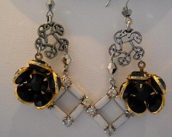 Black & White Dangle Pierced Earrings Repurposed Vintage Rhinestones Milk Glass FREE SHIPPING