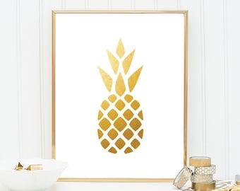 Printable Women Gift Pineapple Print - Pineapple Printable Gold Printable Wall Art Gold Print Kitchen Wall Decor Kitchen Art Gold Art Print