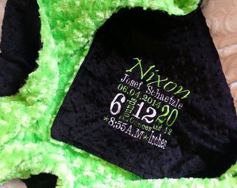 Green Blanket - Personalized baby blanket -Green minky rose black dimple
