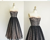 Anniversary SHOP SALE... vintage 1950s dress / pink and black lace party dress / 1950s strapless dress