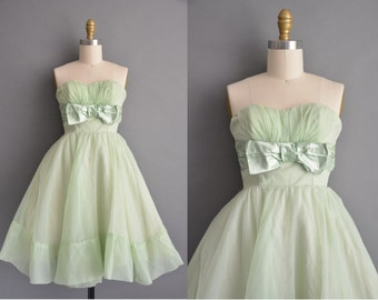 50s celery green chiffon vintage strapless cupcake dress / vintage 1950s dress