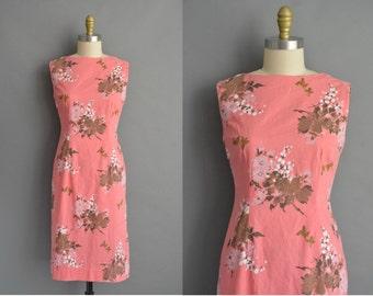 vintage 1950s dress / 50s peach pink cotton floral print vintage dress
