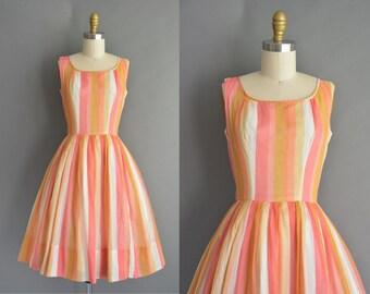 vintage 1950s dress / 50s sherbet cotton stripe full skirt vintage dress