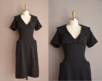 50s black wool wiggle dress / vintage 1950s dress