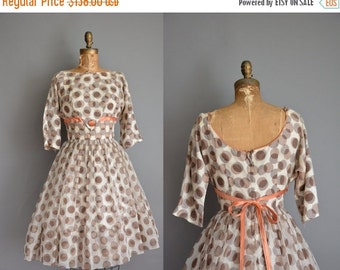 Anniversary SHOP SALE... vintage 1950s dress / brown polka dot chiffon dress / 50s dress