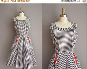 Anniversary SHOP SALE... 50s dress / cotton gingham dress / vintage 1950s dress
