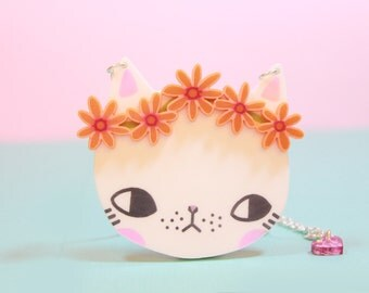 Cat Necklace with Orange Daisy Chain / gifts for her / christmas gifts