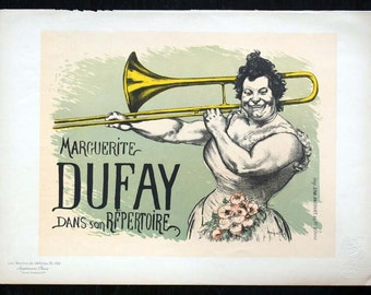 Genuine Original 1899 Lithograph Print Marguerite Dufay, Parisian Music Hall Trombonist