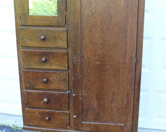 Vintage Antique Wood Armoire Dresser Wardrobe Cabinet