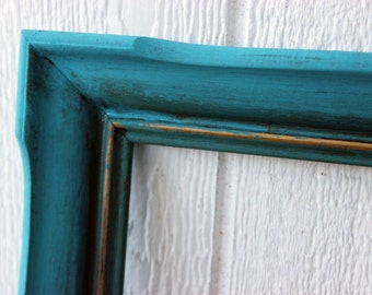 Vintage Wood Shabby Chic Cottage Beach House Turquoise Blue Picture Frame 20 x 24 Wedding