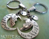 Set of 2 Mother Daughter Key Chains, Mom Gift, Girls, Teens, Womens Gift, Personalized, Initial, Letter Charm, Birthday Gift