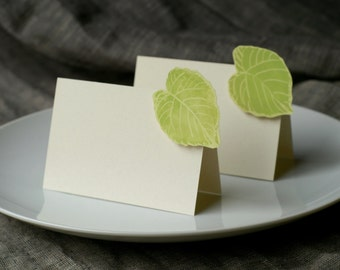 Green Cottonwood Leaf small tent cards - place cards- escort cards - seating - signs