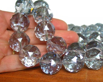 Large 16mm 20mm Light Sapphire Designer Crystal Glass Faceted Round Beads disco ball  PICK SIZE