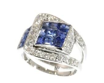 Valentines Sales Van Cleef & Arpels Ring Diamond and Sapphire Mystery Set c.1940