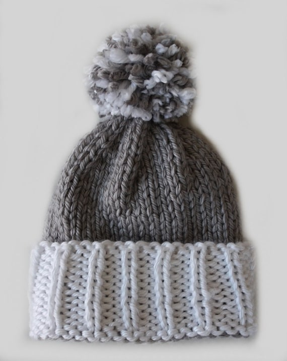 Toddler Beanie Knitting Pattern : Knitting Pattern Colorblock Beanie Pom Hat toddler child