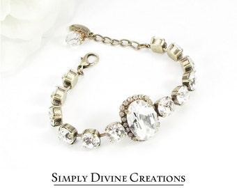 Swarovski Bridal Bracelet, 8mm Swarovski Crystal Bracelet Made With Swarovski Elements, Vintage Style Bridal Bracelet.