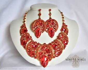 Orange Wedding Jewelry Set, Bridal Statement Necklace Earrings, Vintage Style Gold Crystal Rhinestone Necklace Earrings, Wedding Jewelry