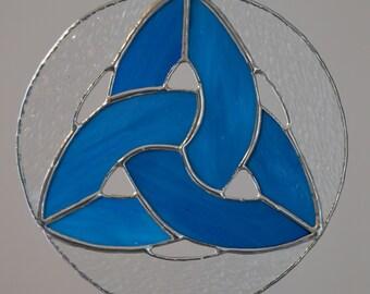 Stained Glass Triquetra, Two-Tone Blue, Suncatcher, Triskele, Celtic, Ancient Symbol, Trinity Knot