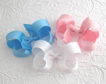 "Set of 3 Boutique Bows, Pick Your Colors, 4"" Boutique Hair Bows, Toddler Hair Bows, Girls Hair Bow Set"