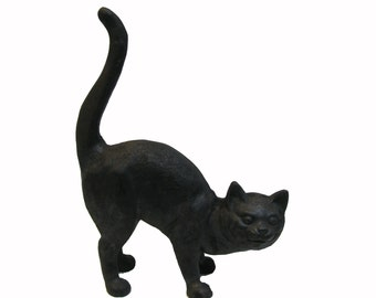Vintage Cast Iron Black Cat Door Stopper