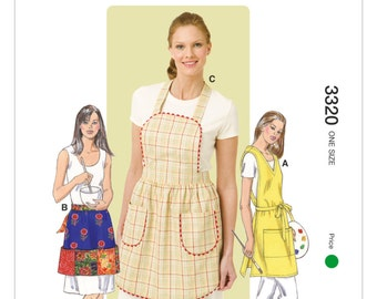 One Size Pattern - Kwik Sew Apron Pattern 3320 by Kerstin Martensson - Misses' Aprons in Three Styles