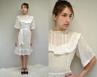 White Cotton Dress //  Mexican Wedding Dress //  THE OJALA