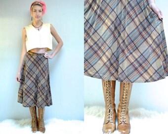 70s Pleated Plaid Skirt  //   Wool Midi Skirt  //  THE BRONAGH