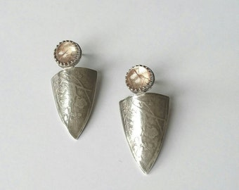 Sterling silver handmade embossed earrings with golden rutilated quartz earrings, hallmarked in Edinburgh.