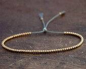 Valentine SALE Solid 14k Yellow Gold Beaded Friendship Bracelet, delicate bracelet with dainty beads with silk