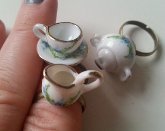Tea cup ring, sugar bowl, milk jug, Mad Hatter Tea party, white blue and green, Forget-me -not, adjustable ring, by NewellsJewels on etsy