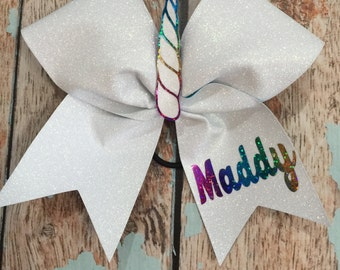 Unicorn Glitter Large Bow Cheer Bow