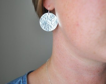 Silver Hammered Disc Earrings - large sterling silver circle round drop dangle metal handmade gift for her - simple wedding everyday jewelry