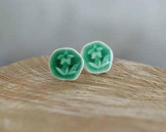 Green Garden Porcelain Studs, Ceramic Stud Earrings, Mrs Peterson Pottery