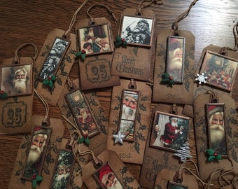 Vintage Santa Image Ornament Tag