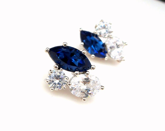 Bridesmaid gift bridal party wedding prom stud montana sapphire navy deep blue rhinestones cubic zirconia multi shape rhodium post earrings