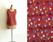 SALE vintage tank top 1970s knit floral print brown burnt sienna clothing size large l