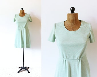vintage dress 60's mint green simple 1960's women's clothing size medium m