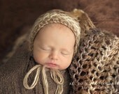 Knit Newborn Bonnet Hat, Newborn Baby Bonnet by Cream of the Prop