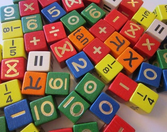 66 vintage MATH dice - wood dice, multi-color, numbers and mathematical symbols