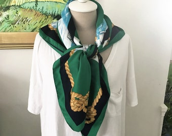 Vintage Art of the Scarf - Green, Navy, White and Gold 1980s Americas Cup Nautical Sailing Boating Regatta Preppy Classic Style Sailboat